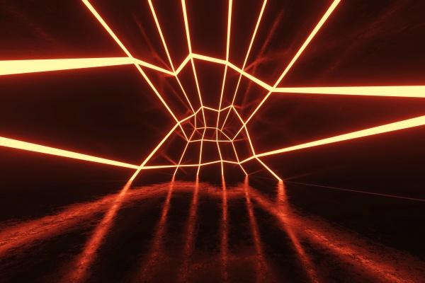 dreidimensionale darstellung des futuristischen korridors beleuchtet