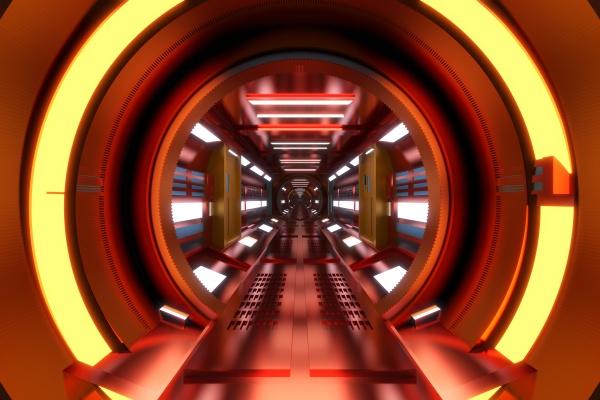 dreidimensionales rendering des rot gewoelbten korridors