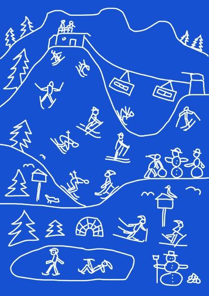 kinderzeichnung von mehreren winterferienaktivitaeten