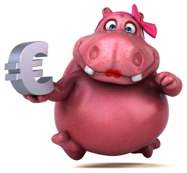 rosa hippo 3d illustration
