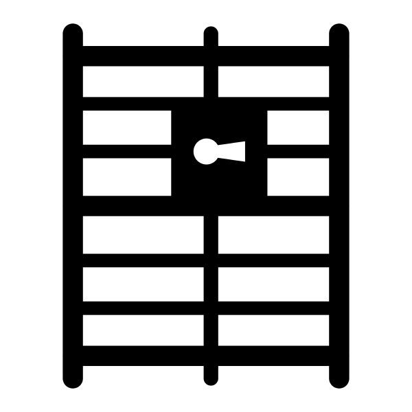 gefaengnis oder gefaengnissilhouettensymbol metallkaefig mit stangen