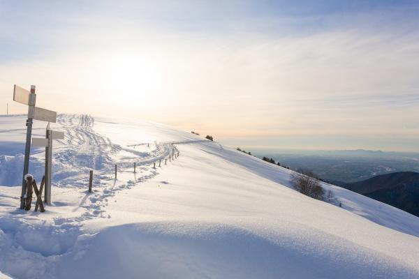 winterlandschaft von schnee bedeckter wanderweg