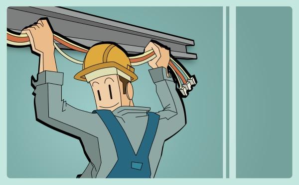 rückansicht, eines, elektrikers, der, kabel, hält - 29365749