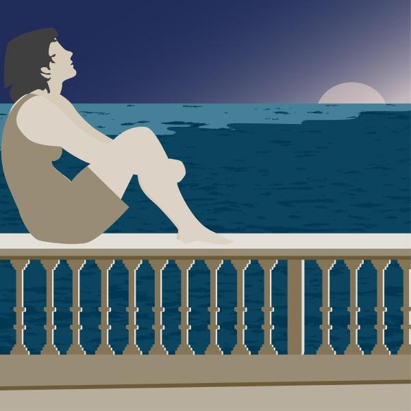 woman, sitting, on, a, railing - 29369063