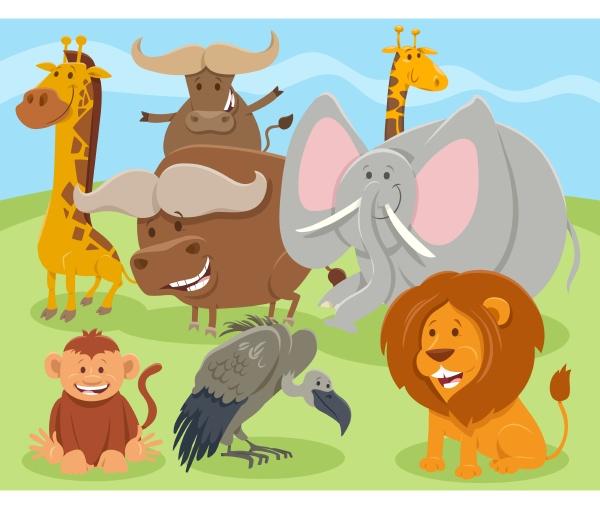 cartoon glueckliche wilde tier charaktere gruppe