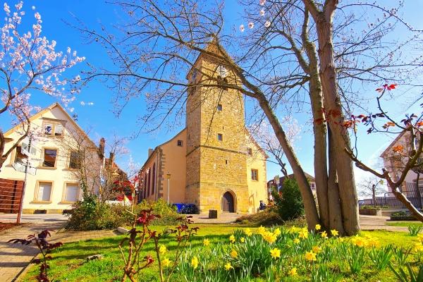 die st laurentiuskirche in gimmeldingen waehrend