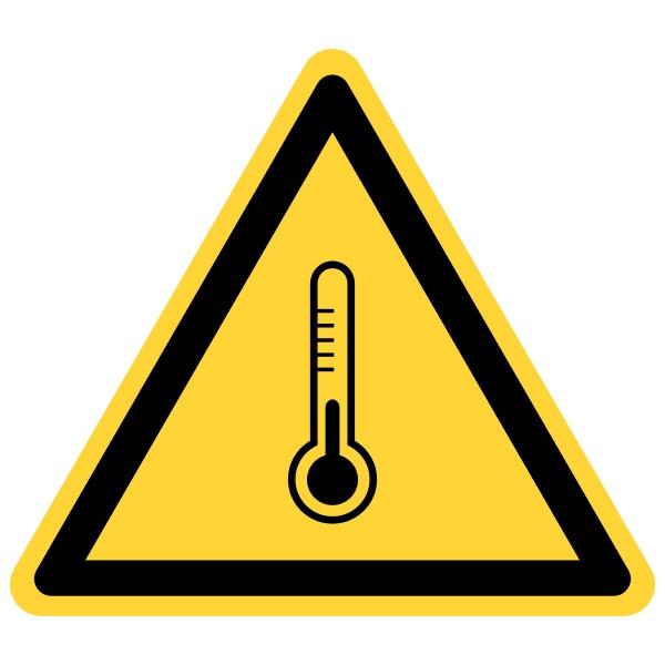 thermometer und gefahrenzeichen