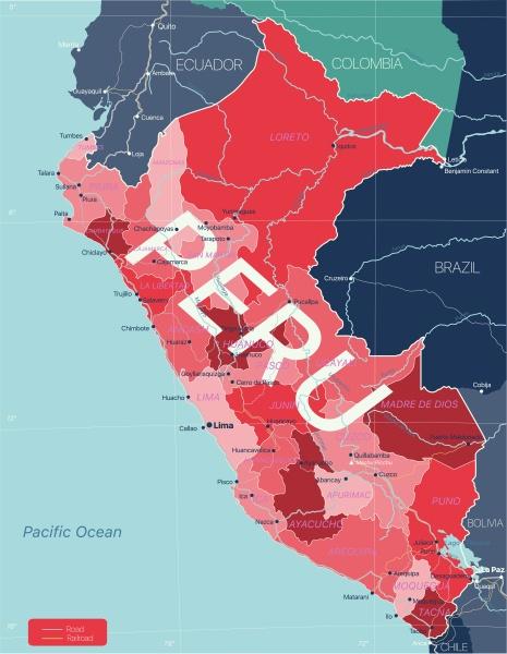 peru land detaillierte bearbeitbare karte