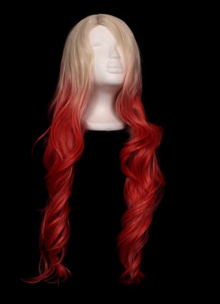 blond und orange ombre peruecke auf