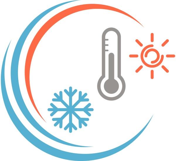 thermometer sonne und schneeflocke temperatur logo