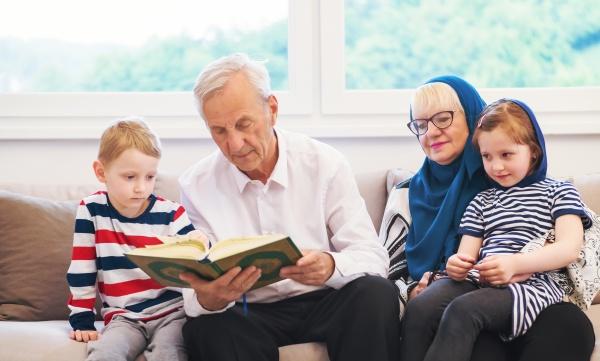 modern, muslim, grandparents, with, grandchildren, reading - 29801184