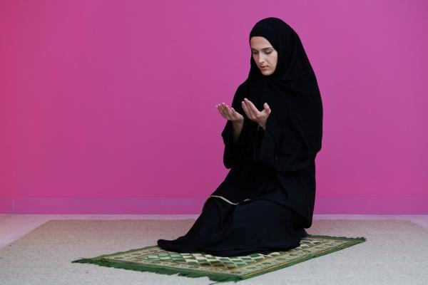 muslimische, frau, namaz, betend, allah - 29802198