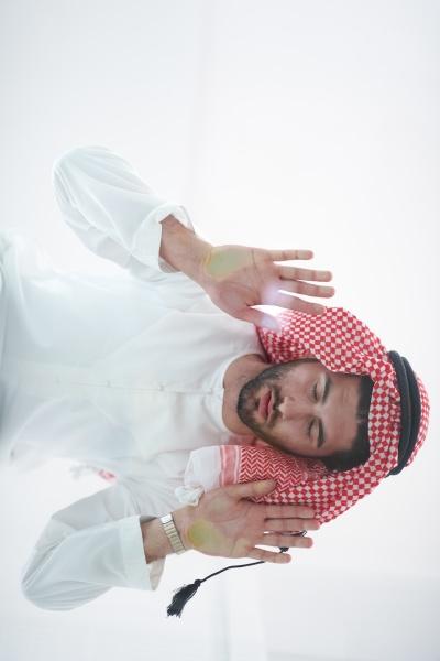 young, arabian, muslim, man, praying, on - 29805472