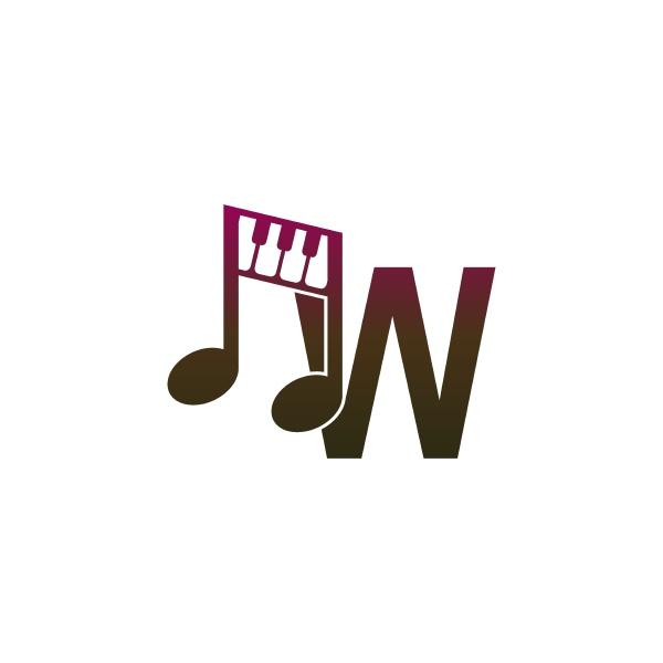 buchstabe w logo symbol mit musiknoten