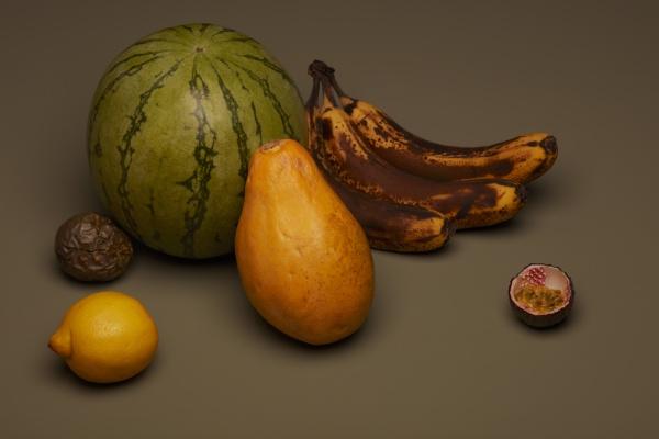 obst stillleben mit braunen bananen