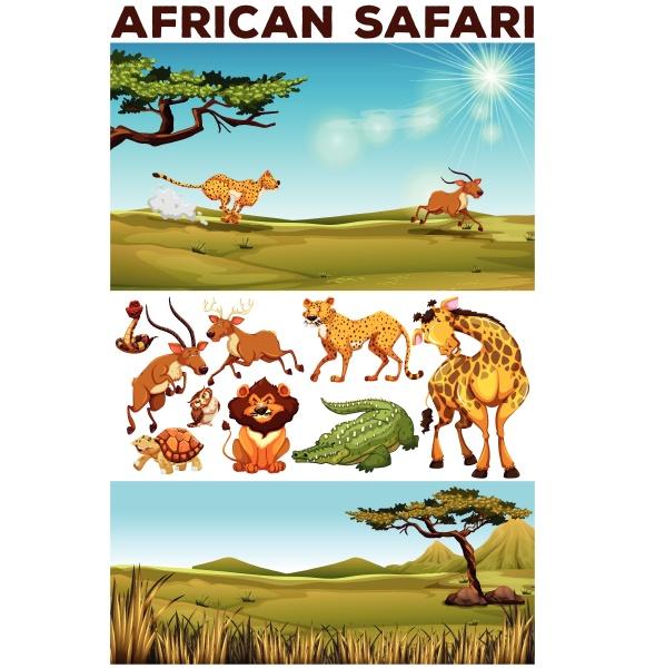 safari, theme, with, wild, animals, in - 30197257