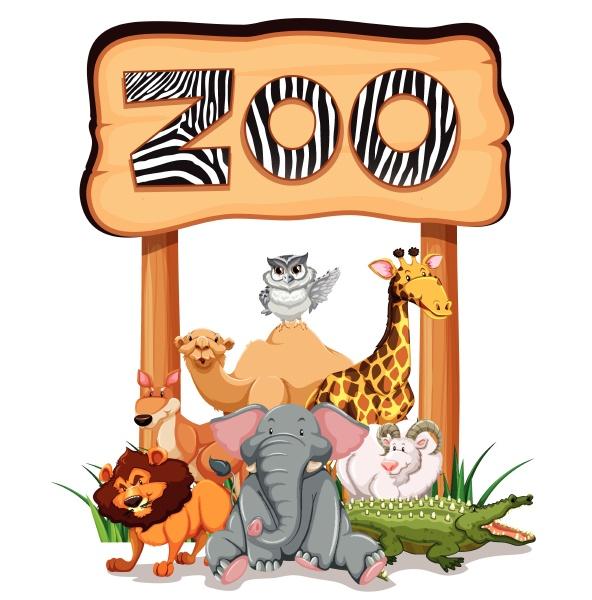 wildtiere unter dem zooschild