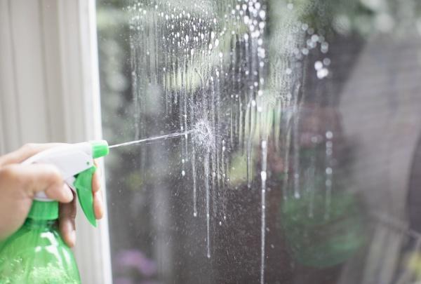 nahreinigungsfenster mit spruehflaschenglasreiniger