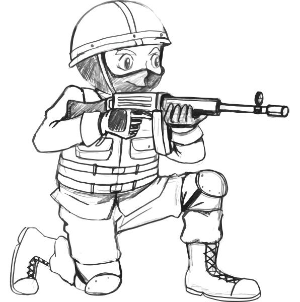 eine, skizze, eines, soldaten, mit, einer - 30240983