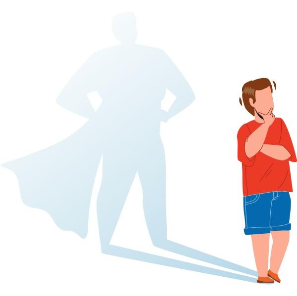 junge kind traeumt mutig zu bleiben