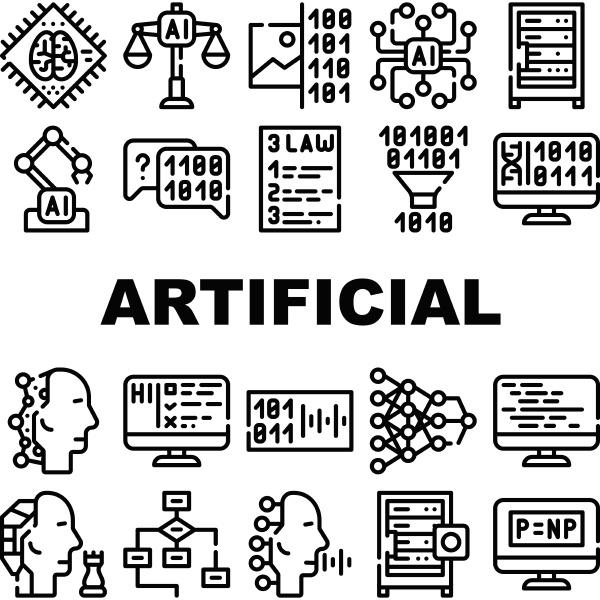 kuenstliche intelligenz systemsymbole isolierte illustration festlegen
