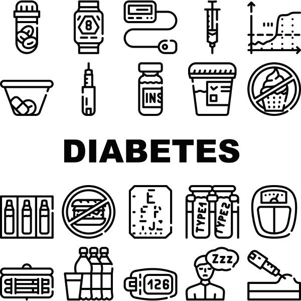diabetes krankheit behandlung sammlung icons set