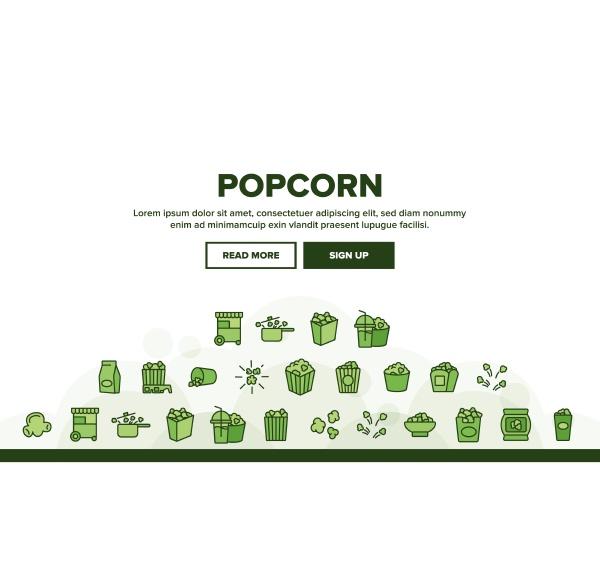 popcorn, tasty, snack, landing, header, vektor - 30336177