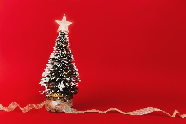 kleiner weihnachtsbaum mit band auf rotem