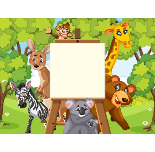 sign, template, with, wild, animals, in - 30504686