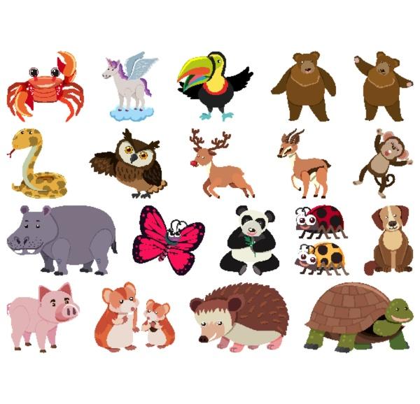 large, set, of, wild, animals, on - 30510065