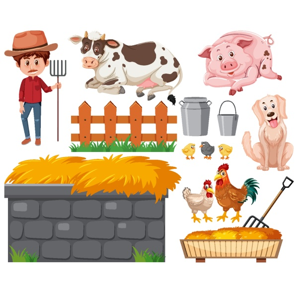 set, of, farmer, and, animals, on - 30515881