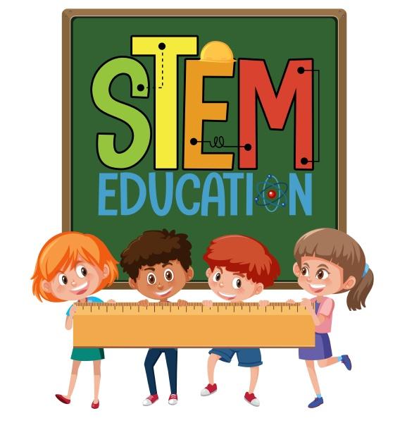 stem, education, logo, mit, kindern, die, lineal - 30516494