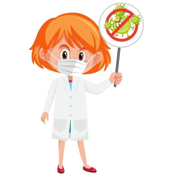 arzt mit maske und stopp coronavirus