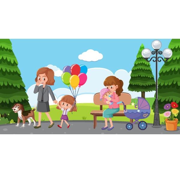 szene, mit, müttern, und, kindern, die, sich - 30533888