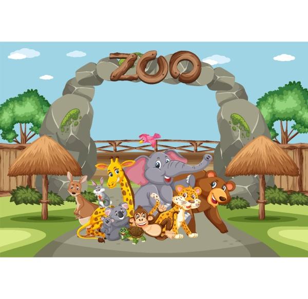 szene, mit, wilden, tieren, im, zoo - 30537478