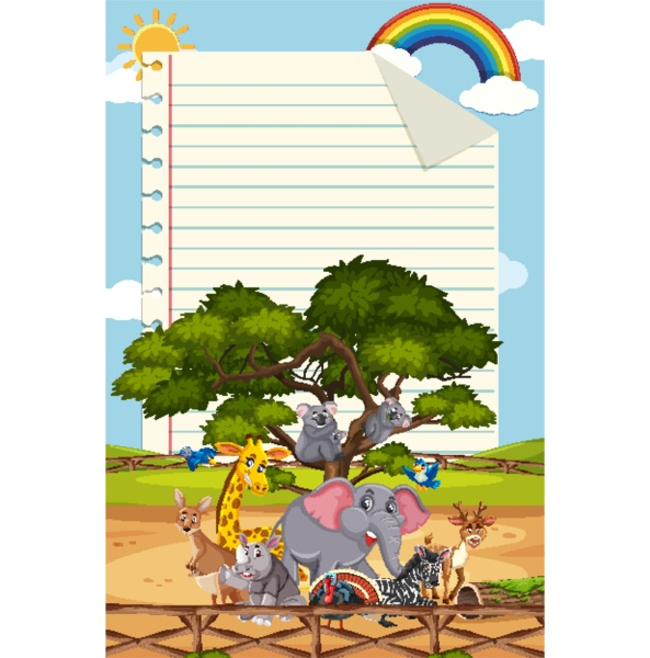 rahmenvorlagendesign, mit, vielen, wildtieren, im, hintergrund - 30545763