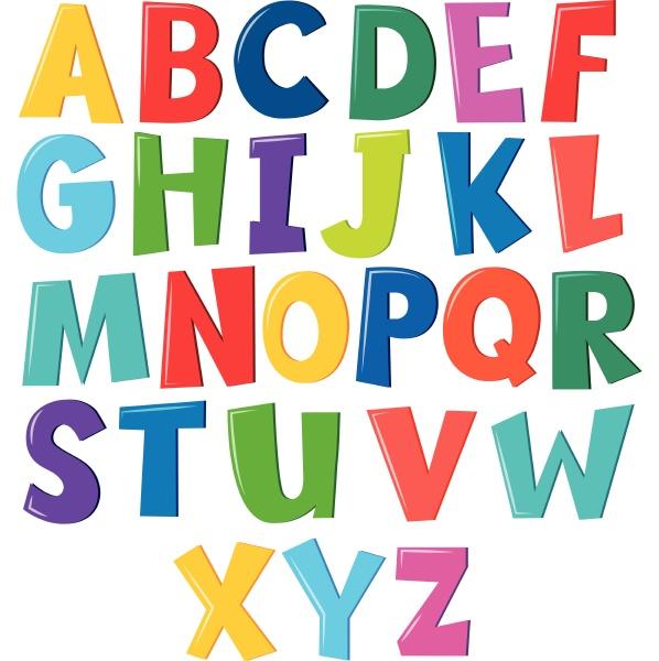 colourful, english, alphabet, on, white, background - 30549396