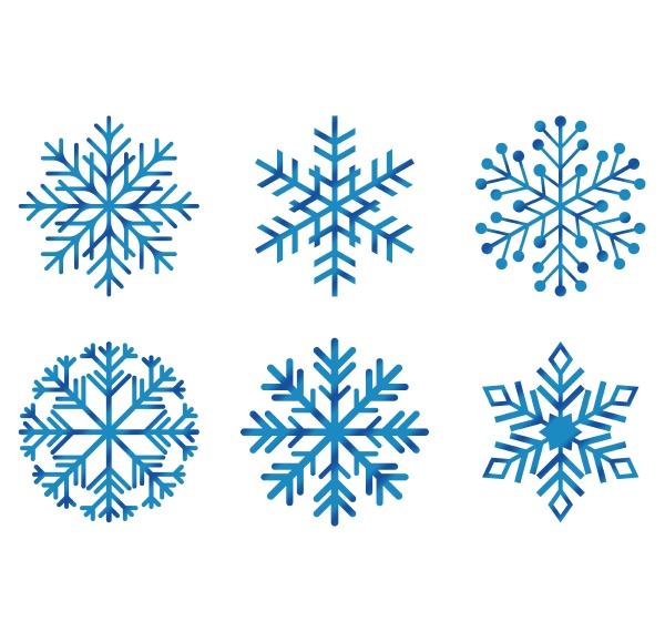 kontur set aus frostigen schneeflocken
