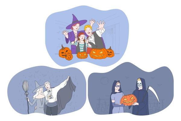 halloween feiertag in gruseligen kostuemen feiern