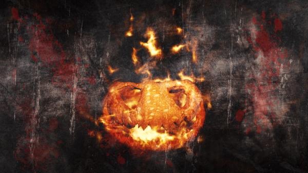 halloween kuerbis jack o laterne brennt
