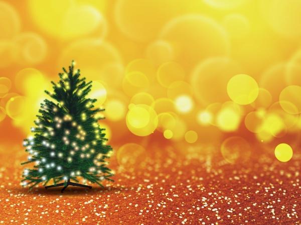 3d weihnachtsbaum mit lichtern auf goldenem