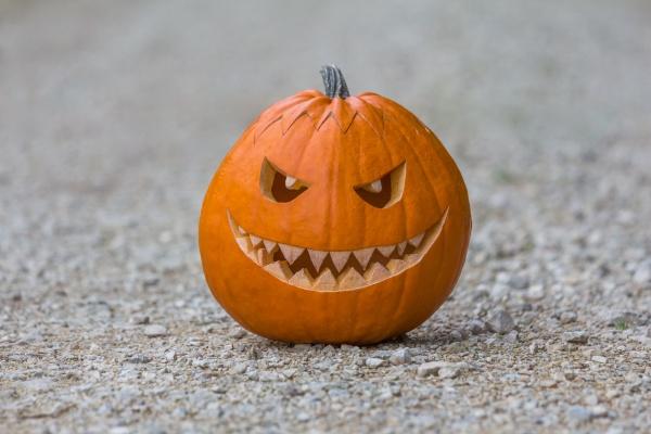 gruselig laechelnder halloween kuerbis mit fiesem