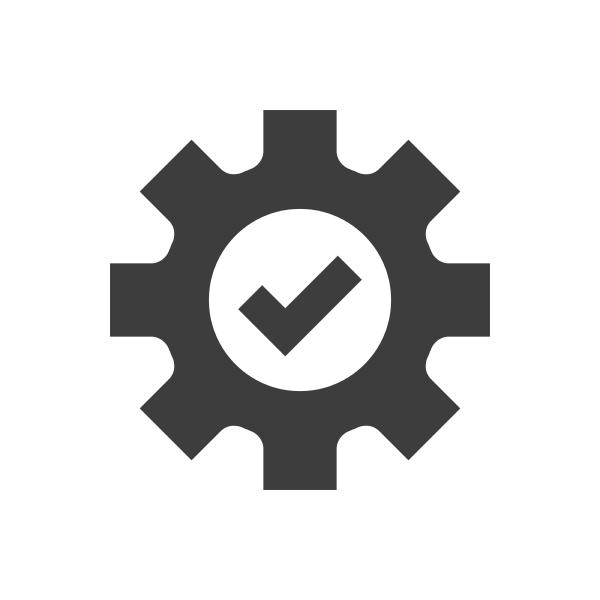 cogwheel, and, checkmark, black, vector, icon - 30686344