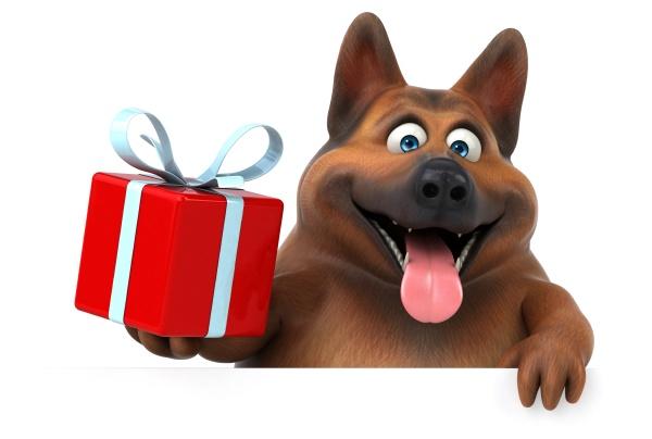 lustiger, schäferhund, -, 3d, illustration - 30725532