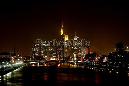 frankfurt skyline with star filters