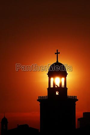church sunset sunbeams frankfort skyline silhouette