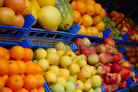 fruit and vegetable stall in the