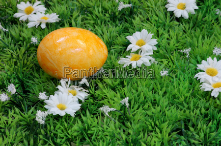 yellow easter egg in the meadow