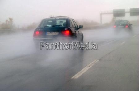 highway in rain