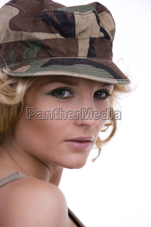 portrait of woman with military cap